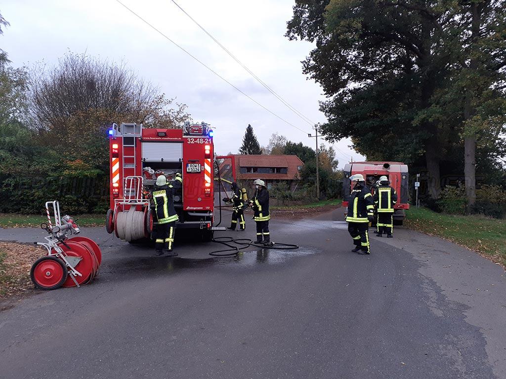 Motor eines Futtermischwagens brannte